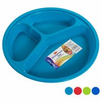 Food Plate, 3-Compartment, Assorted Colors, 2-Pk.