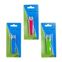 Nail Clipper, Metal With Rubber Grip, Assorted, 3-In.