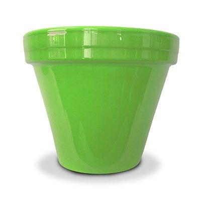 Flower Pot, Bright Green Ceramic, 6.5 x 5.5-In.