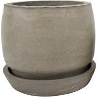 Planter With Tray, Fiber Cement, 6.5 x 6-In.