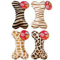 Dog Toy, Bone Shape Squeaker, Assorted, 8-In.