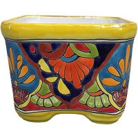 Ceramic Planter, Cuadrada, Double-Fired, Hand-Painted, 6-In.