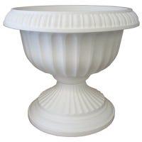 Grecian Urn, Casper White Plastic, 18-In.