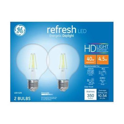 LED Light Bulbs, G25, Clear Daylight, 350 Lumens, 4.5-Watts, 2-Pk.
