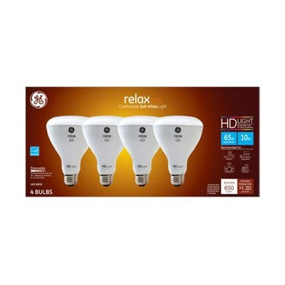 LED Directional Bulbs, Br30, Frosted Soft White, 650 Lumens, 10-Watts, 4-Pk.