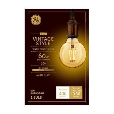 LED Vintage Light Bulb, G30, Warm White, Amber Bulb, 400 Lumens, 5.5-Watt