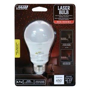 LED Light Bulb, A19, Red Laser, 450 Lumens, 4.7-Watt