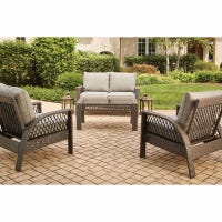 Coral Bay 4-Pc. Deep Seating Set, 2 Cushioned Chairs & Loveseat + Coffee Table, Brown Wicker/Steel