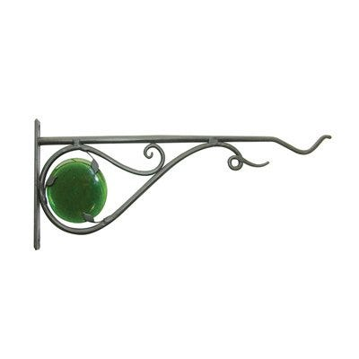 Hanging Plant Bracket, Stained Glass, Black, 15-In.