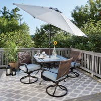 Belmont 5-Pc. Patio Dining Set, 4 Swivel Cushioned Chairs, Tile Table Top, Steel/Brown Wicker