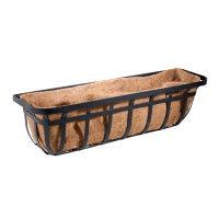 Window Planter Trough Basket, Flat Iron Motif, 30-In.