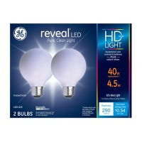 LED Reveal Globe Light Bulbs, G25, Frosted Pure White, 290 Lumens, 4.5-Watts, 2-Pk.