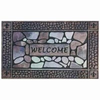 Doormat, Recycled Rubber, Stone Border, 18 x 30-In.