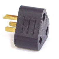RV Compact Adapter, 15-Amp Male Plug, 125-Volt, Black