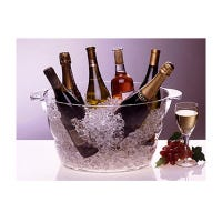 Wine Party Tub, Clear Acrylic, Oval, 15.5 x 11 x 9-In.