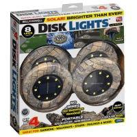 Solar Powered Disk Lights, 8 LED, Slate, 4-Pk.