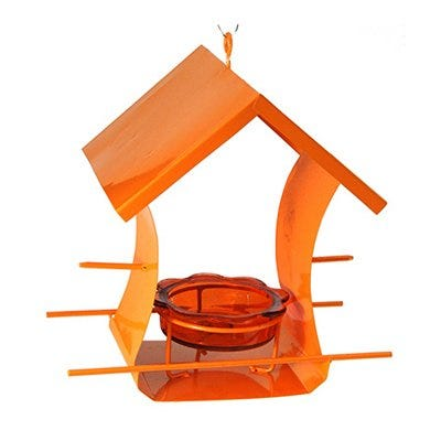Oriole Bird Feeder, Metal, Holds Orange Halves & Jar