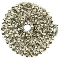 Beaded Lamp Chain With Connector, #10, Nickel-Plated, 3-Ft.