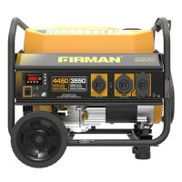 Portable Gas Generator, 4450/3550 Watts, Recoil Start, Quiet Run, Bonus Wheel Kit and Cover