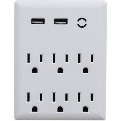 Wall Tap Surge Protector, 3-Outlet, 2-USB, White