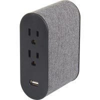 Wall Tap Surge Protector, 4 Outlets, 2 USB, Gray Fabric Cover