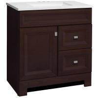 Sagebrook Bathroom Vanity Combo, Café Finish, Arctic White Top, 30-In. W