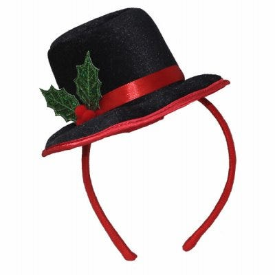 Black Top Hat with Holly Headband, Felt & Satin