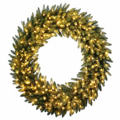 Feel Real Grande Fir Artificial Wreath, 200 Warm White LED Lights, 48-In.
