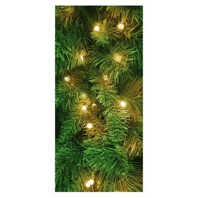 Pre-Lit Mountain Spruce Garland, 100 Twinkling Warm White LED Lights, 6-Ft.