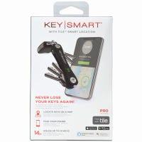 KeySmart Pro Compact Key Holder, Black, Holds 10 Keys, Free Tile App for Smart Phone