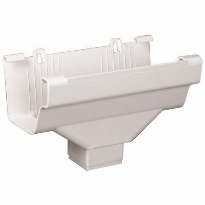 Gutter Drop Outlet, K-Style, Traditional Vinyl, White, 2 x 3-In.
