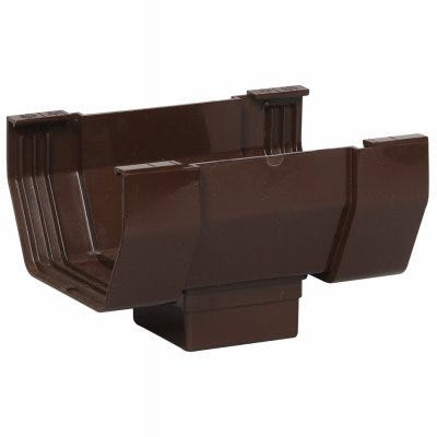Center Drop Outlet for Brown Vinyl Contemporary Gutter, 5-In.