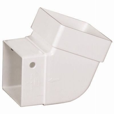 Gutter Elbow, Contemporary, Square, Vinyl, White, 2-In.