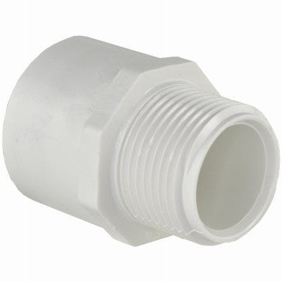 Schedule 40 PVC  Pressure Pipe Fitting,Male Adapter, White,  1-1/4-In.