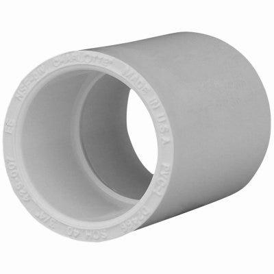 Schedule 40 PVC  Pressure Pipe Fitting, Coupling, Slip x Slip, White, 3-In.