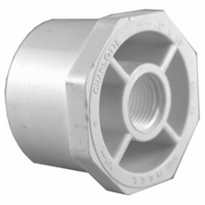 Schedule 40 PVC  Pressure Pipe Fitting, Reducer Bushing, White, 1-1/2 x 3/4-In.