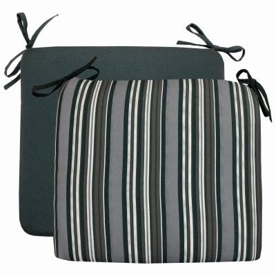 Patio Premiere Seat Cushion, Stripes Reverse to Solid, 18 x 15 x 3.5-In.