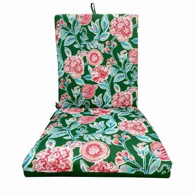 Patio Premiere Seating Cushion, Green Floral Reverses to Solid, 44 x 21 x 4-In.