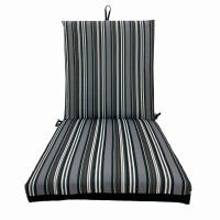 Patio Premiere Seating Cushion, Stripes Reverse to Solid Gray, 44 x 21 x 4-In.