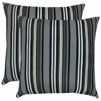 Patio Premiere Outdoor Toss Pillow, Gray/White Stripes, 16 x 16 x 4-In.