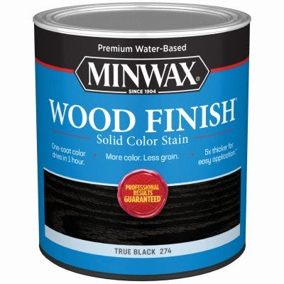 Wood Finish Stain, Water-Based, Solid Color, True Black, 1-Qt.
