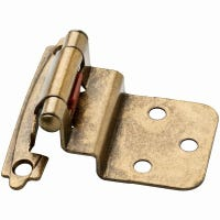Inset Cabinet Hinges, Self-Close, Antique Brass, 3/8-In., 2-Pk.
