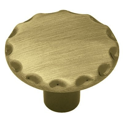 Scallop Edge Cabinet Knob, Antique Brass, 1-1/8-In. Round