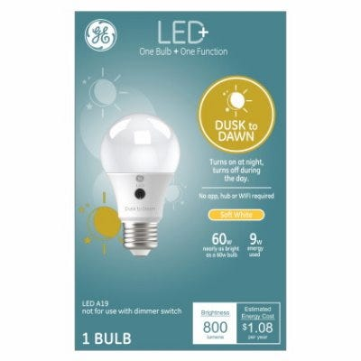 LED Light Bulb, Dusk to Dawn Soft White, A19, Outdoor Use, 9-Watts