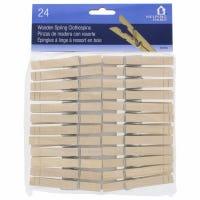 Wood Clothespins, Spring Close, 24-Pk.