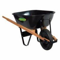 Wheelbarrow, Medium-Duty Poly, Wood Handles, 5-Cu. Ft.