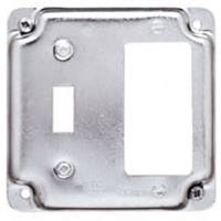 GFI Box Cover & Single Toggle, Flat Cover Square, Steel,  4-In.