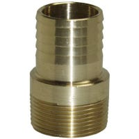 Yellow Brass Threaded Male Adapter, Barbed End, 1.5-In.