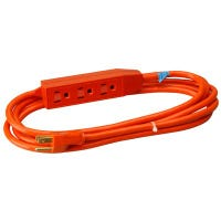 3-Outlet Extension Cord, 16/3 SJTW Orange Round, 3-Ft.