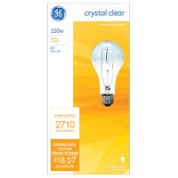 GE General Purpose Light Bulb, Clear, 150-Watt, Must Purchase in Quantities of 12